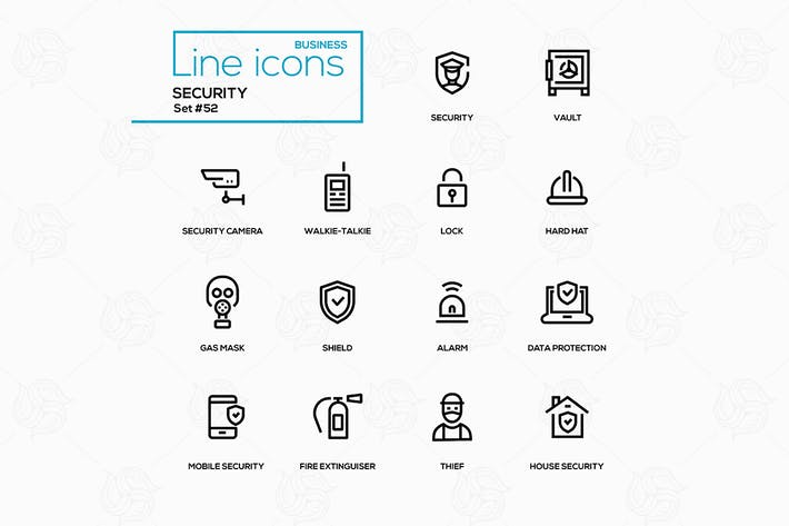 Thumbnail for Security - line design style icons set