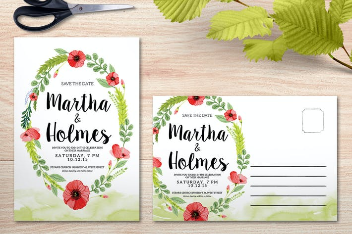 Thumbnail for Watercolour Wedding Invitation
