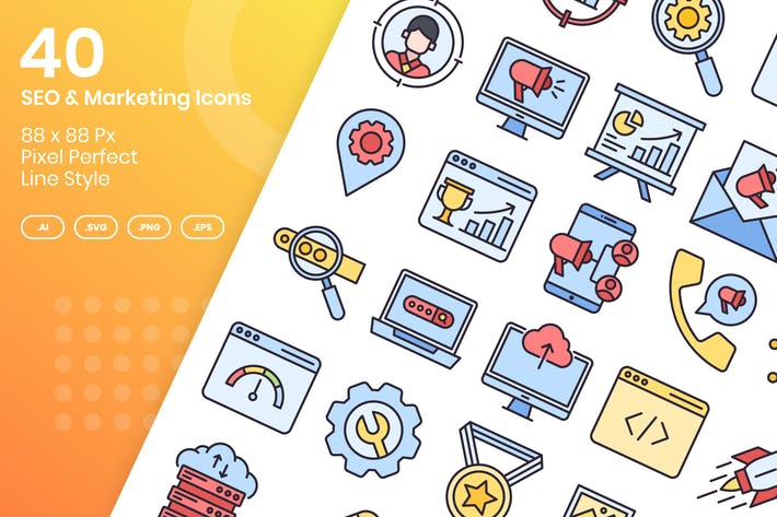 Thumbnail for 40 SEO & Marketing Icons Set - Filled Line