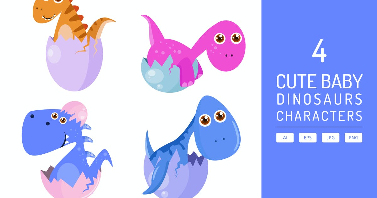 Download Cute Dino Baby with Eggs Hatch Vol.2 by Graphiqa