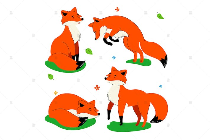 Thumbnail for Cute red fox - flat design style set of characters