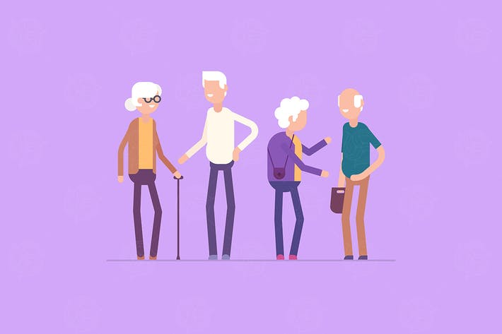 Thumbnail for Retired people meeting - flat design illustration