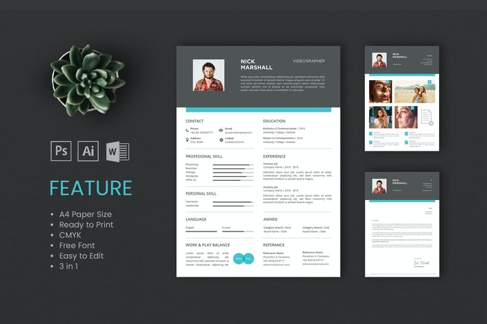 Cover Image For Professional CV And Resume Template Nick