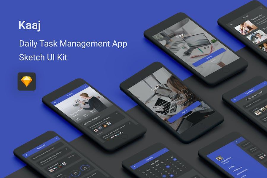 Kaaj - Daily Task Management Sketch UI Kit