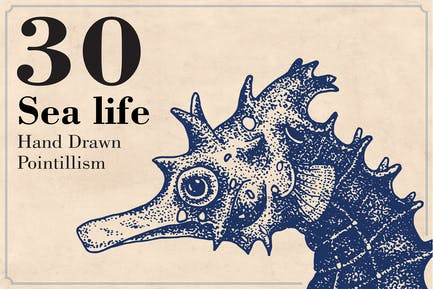Sea Life - Ilustración dibujada a mano
