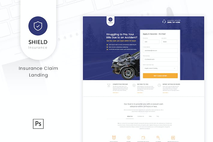 Thumbnail for Shield - Insurance Claim Landing PSD Template
