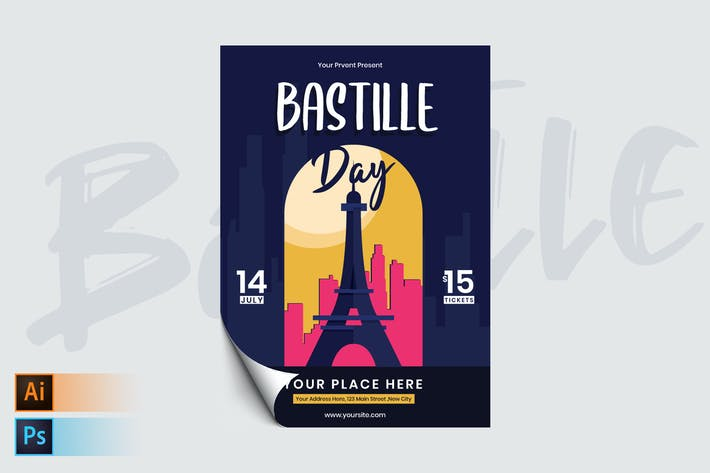 Thumbnail for Bastille Day Flyer/Poster Template