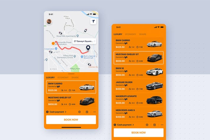 Thumbnail for Car rental mobile UI Kit - Listing of Car type