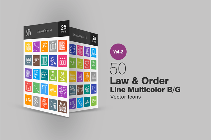 Thumbnail for 50 Law & Order Line Multicolor Icons