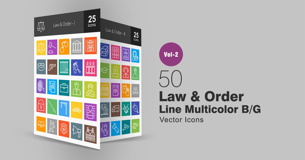50 Law & Order Line Multicolor Icons by IconBunny