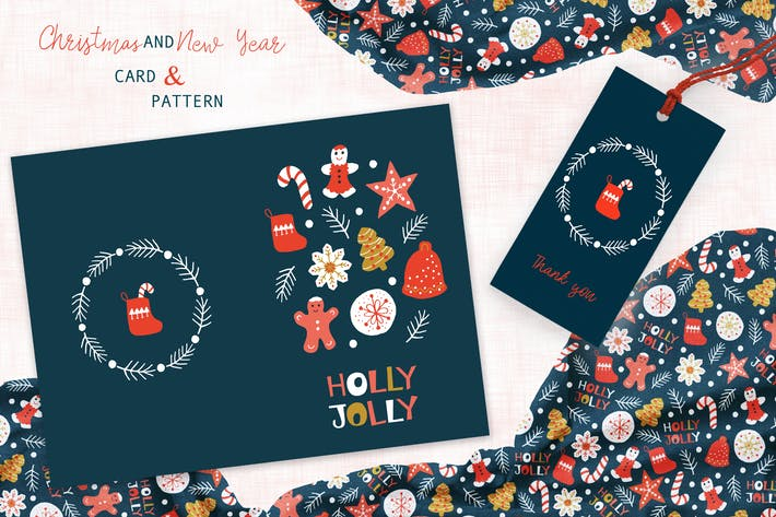 Thumbnail for Christmas Cookies Greeting Card and Pattern