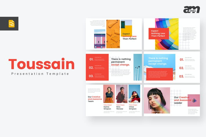 Thumbnail for Toussain Creative Google Slides Template