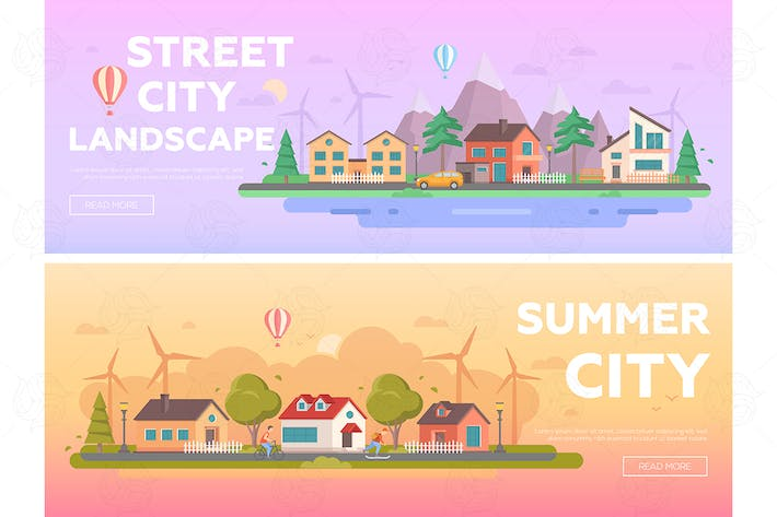 Thumbnail for City landscape - set of flat vector illustrations