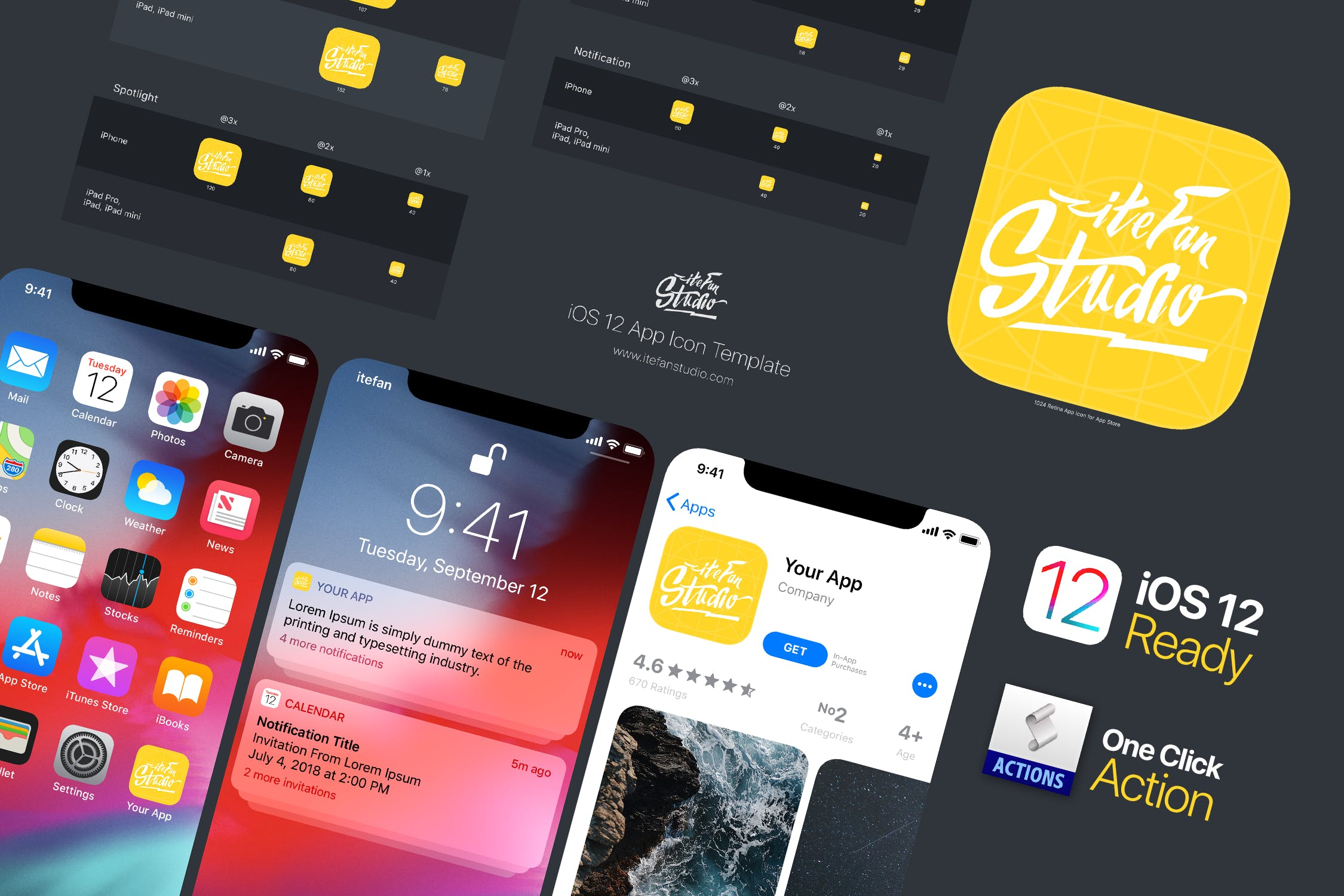 Ios 12 App Icon Template By Itefan On Envato Elements