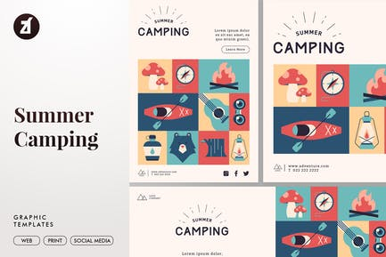Summer Camping Graphic Templates