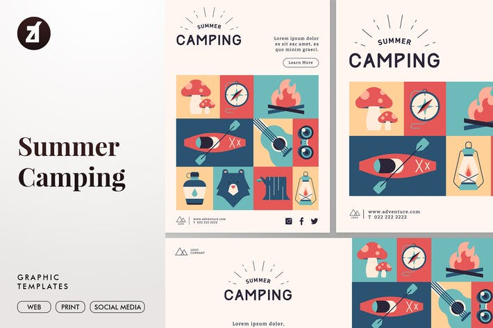 Thumbnail for Summer Camping Graphic Templates
