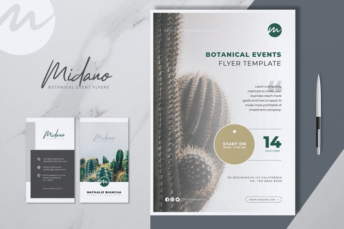 Thumbnail for MIDANO Botanical Event Flyer & Business Card