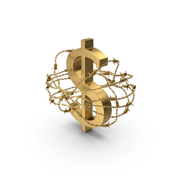 Golden Dollar In Barbed Wire