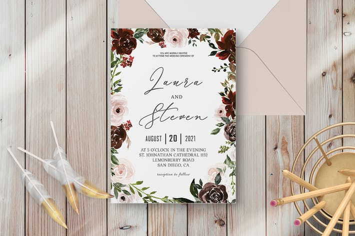 Thumbnail for Radiant Bloom Floral Wedding Invitation Template
