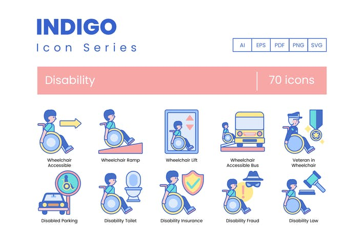 Thumbnail for 70 Disability Icons | Indigo Series