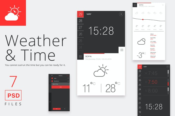 Thumbnail for Weather and Time App PSD