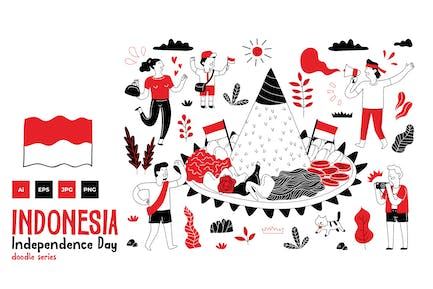 Indonesia Independence Day doodle series 3