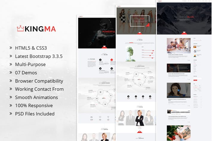 Thumbnail for KingMa | Creative Business Onepage HTML Modèle