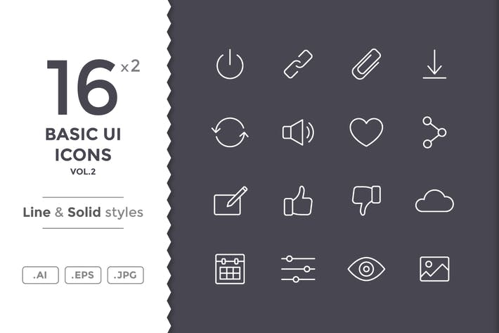 Thumbnail for Basic UI Icons (vol.2)