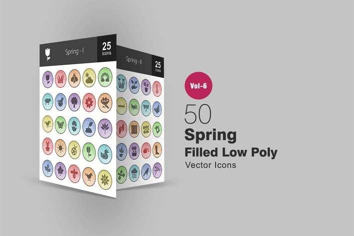 Thumbnail for 50 Spring Filled Low Poly Icons
