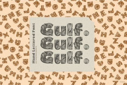 Gulf. Hand Lettered Font and seamless patterns