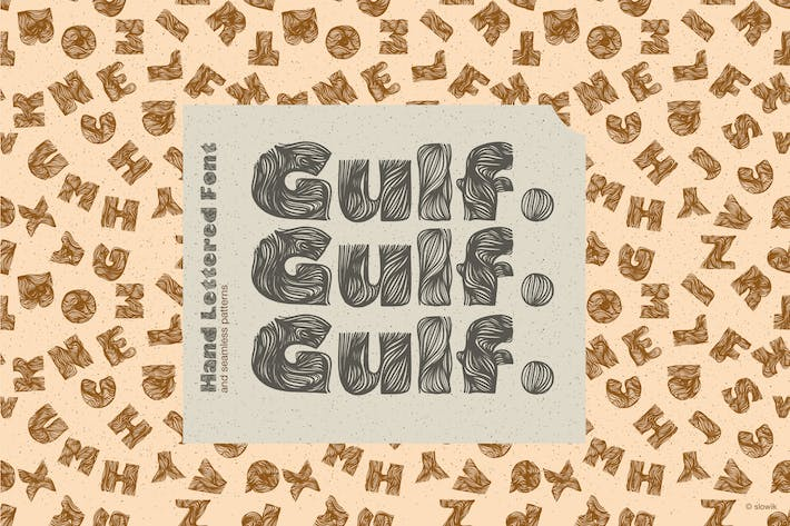 Thumbnail for Gulf. Hand Lettered Font and seamless patterns