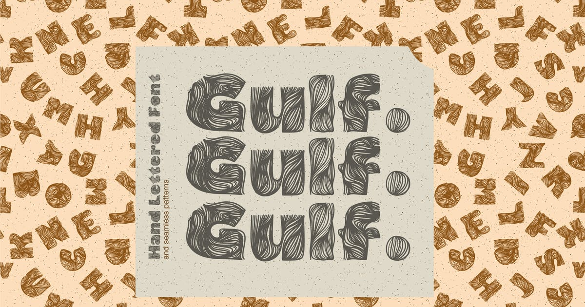 Download Gulf. Hand Lettered Font and seamless patterns by a_slowik