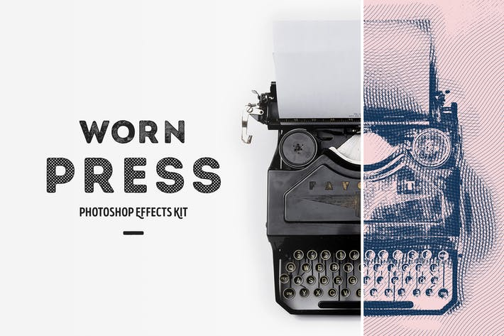 Thumbnail for Worn Press Photoshop Effects Kit