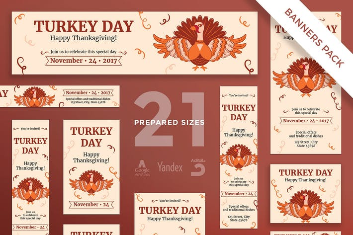 Thumbnail for Thanksgiving Celebration Banner Pack Template