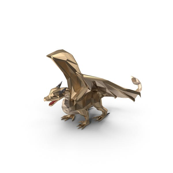 Low Poly Golden Dragon