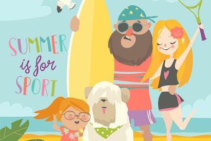Спортивная семья с собакой на пляже. Вектор иллюзорность