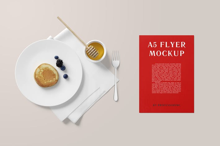 Thumbnail for A5 Portrait Flyer Mockup - Breakfast Set