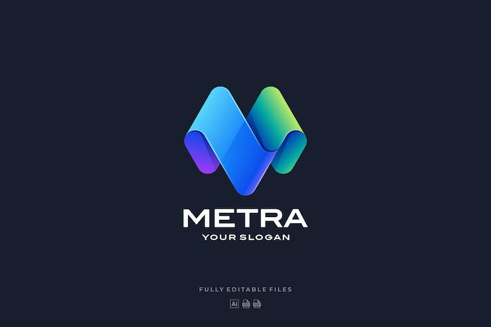 Abstract Letter M Color Gradient Logo