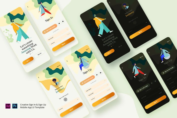 Thumbnail for Rezo - Sign In & Sign Up Mobile App UI Template