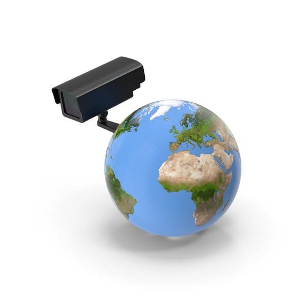 Erde stilisiert mit Sicherheitskamera