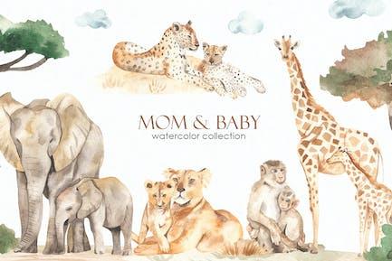 Maman et bébé animaux Aquarelle