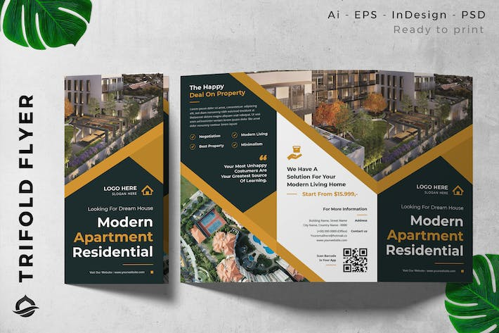 Residential / Apartment Trifold Brochure Flyer