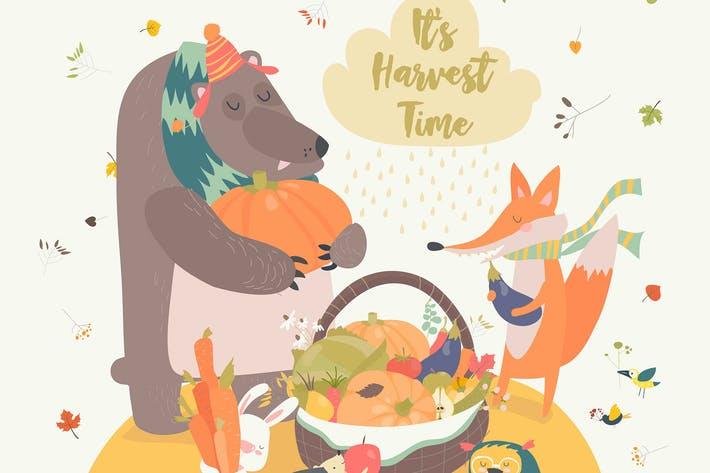 Thumbnail for Cute animals harvesting. Hello autumn. Vector