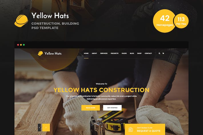 Thumbnail for Yellow Hats - Construction Business PSD Template