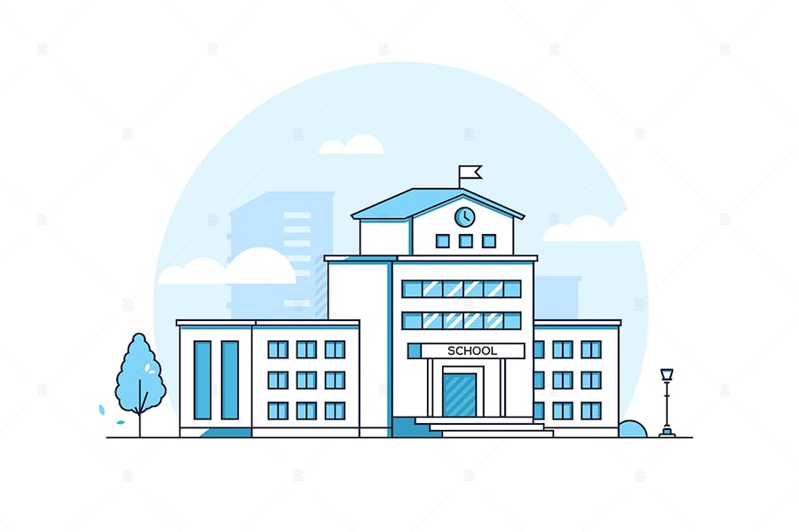School building - line design style illustration