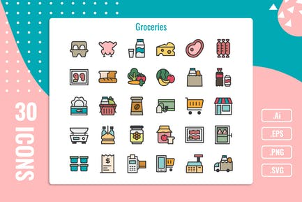 30 Iconset für Lebensmittel mit 5 Stilen