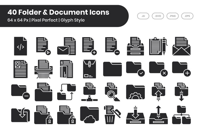 40 Folder & Document Icons Set - Glyph