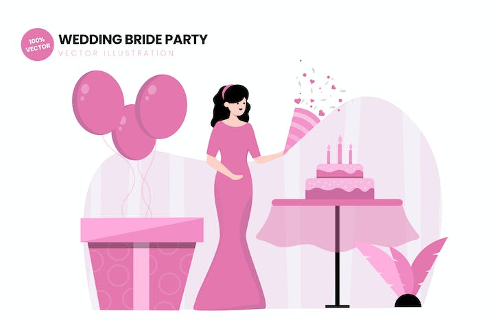 Thumbnail for Wedding Bride Party Flat Vector Illustration