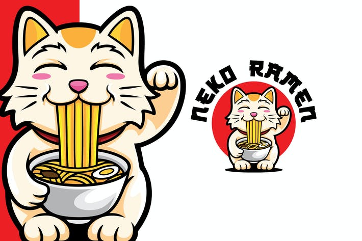 Thumbnail for Neko Ramen Logo Mascot Template