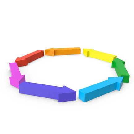 Círculo de flecha arco iris giro